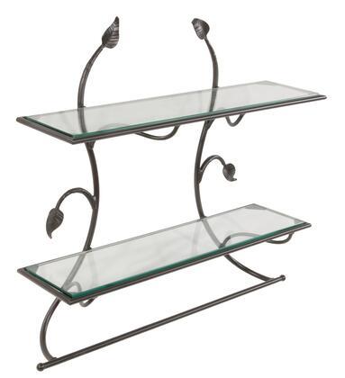 Stone County Ironworks 900-270 Leaf Wall Shelf & Towel Bar 2-Tier