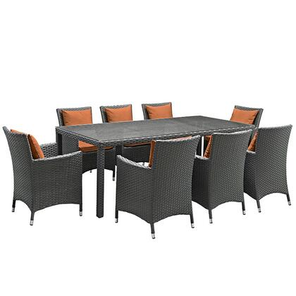 Modway Sojourn Collection EEI-2309-CHC- 9-Piece Outdoor Patio Sunbrella Dining Set with 8 Armchairs and Dining Table in