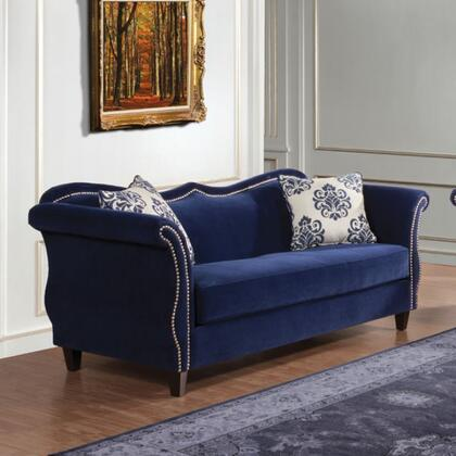 "Furniture of America Zaffiro Collection SM223X-SF 95"" Sofa with Sweetheart Style Back, Nailhead Trim and Tapered Legs in"