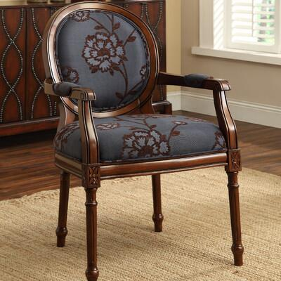 Coast to Coast 462 Accent Chair with High Cushioned Seat, Circular Back and Arms Covered in a x Fabric, Hard Carved Accents and Fluted Details in x Finish