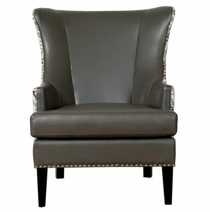 TOV Furniture Soho TOVWIL Wing Chair with Black Stained Wooden Legs and Hand-Applied Silver Nail Head Trim in