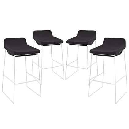 Modway EEI-1365 Garner Bar Stool Set of 4 with Modern Design, Built-in Footrest, Chrome Plated Steel Frame and Foam Seat Upholstered in Fabric