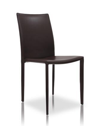 Modloft MD605BRN Varick Series Modern Leather Metal Frame Dining Room Chair