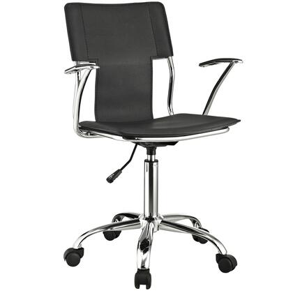 "Modway EEI-198 Studio 17"" Office Chair with Modern Design, Adjustable Height, Vinyl Upholstery, Chrome Plated Steel, and Casters"