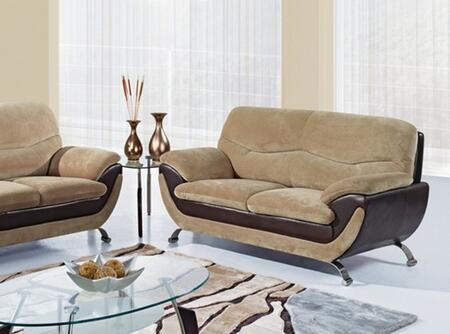 Global Furniture USA U4160CHAMPFROTHCHOCL Fabric Stationary with Wood Frame Loveseat
