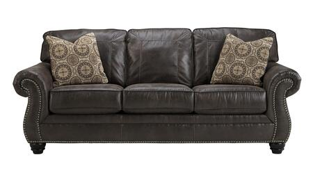 Benchcraft Breville 8000X38 Sofa with 2 Patterned Toss Pillows, Reversible Coil Seating and Jumbo Stitching Details in