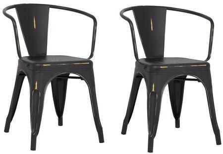 EdgeMod EM113DISBLKX2 Trattoria Series Modern Metal Frame Dining Room Chair
