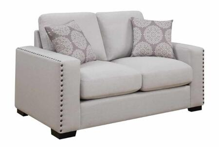 """Donny Osmond Home Rosanna Collection 66"""" Loveseat with Track Arms, Reversible Cushions, Nailhead Trim, Espresso Solid Wood Legs and Linen-Like Fabric Upholstery in"""