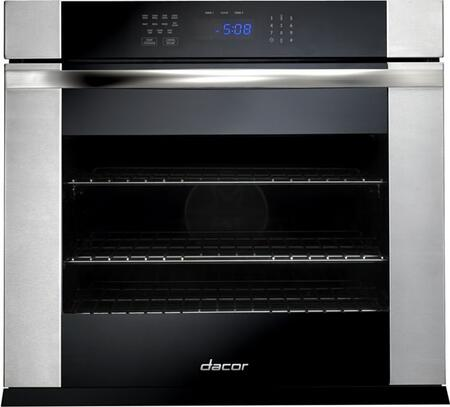 "Dacor RNOV127B 27"" Black Glass with Vertical Stainless Steel Trim Single Wall Oven"
