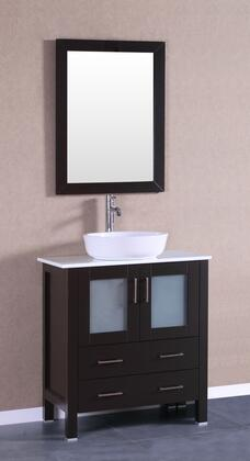 Bosconi Bosconi AB130BWLPSX Single Vanity with Soft Closing Doors , Drawers,Phgoeniz Stone Top, Faucet, Mirror in Espresso and White Vessel Oval Ceramic Sink