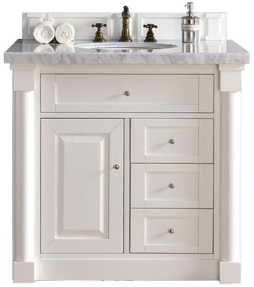 "James Martin New Haven Collection 770-V36-CWH- 36"" Cottage White Single Vanity with Four Drawers, One Door, Satin Nickel Hardware and"