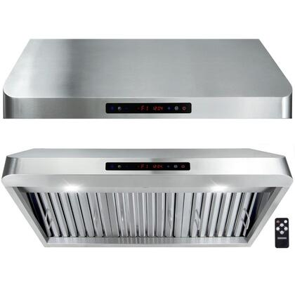 "Golden Vantage GUR8013 X"" Under Cabinet Hoods with 900 CFM, 65 dB, Innovative Touch, LED Lighting, 3 Fan Speed, Stainless Steel Baffle Filter and Remote Control: Stainless Steel"