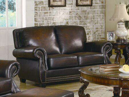 Coaster 502992 Leather Stationary with Wood Frame Loveseat