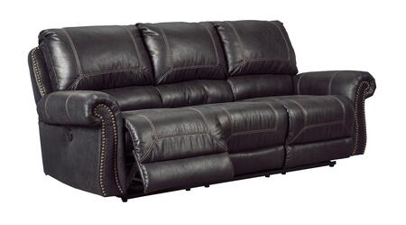 "Milo Italia Josiah MI-2573BTMP 89"" Reclining Power Sofa with Nail Head Trim, Rolled Arms, Jumbo Stitching, Split Back Cushion, PU Leather and Fabric Upholstery in"