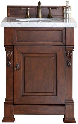 """James Martin Brookfield Collection 147-114-V26-WCH- 26"""" Warm Cherry Single Vanity with One Soft Closing Door, Backsplash, Hand Carved Filigrees and"""