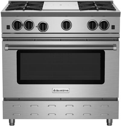 """BlueStar RNB364FTBV2X RNB Series 36"""" Freestanding Gas Range with Cast Iron Open Burners, 5.0 Cu. Ft. Convection Oven, 12"""" French Top,  Simmer Burner, Full Motion Grates and Stainless Steel Drip Trays"""