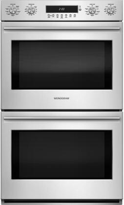 "GE Monogram ZET2xHSS 30"" Electric Double Wall Oven with 10.0 cu. ft. Capacity, True European Convection, Self-Cleaning, Steam Clean Option and LED Oven Lighting:"