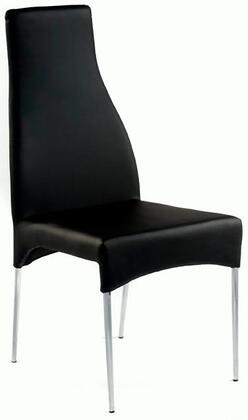 Chintaly CRYSTALSCBLK Cilla Series Contemporary Leather Metal Frame Dining Room Chair
