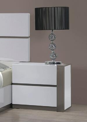 "Chintaly MANILANS 24.5"" 2 Drawer Night Stand in Gloss White & Grey Finish"