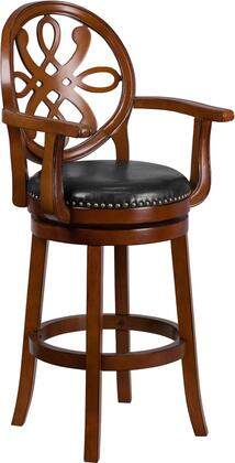 """Flash Furniture 30"""" Bar Stool with Curved Arms, Black LeatherSoft Upholstery, Nailhead Trimmed Swivel Seat, Footrest and Protective Floor Glides in"""