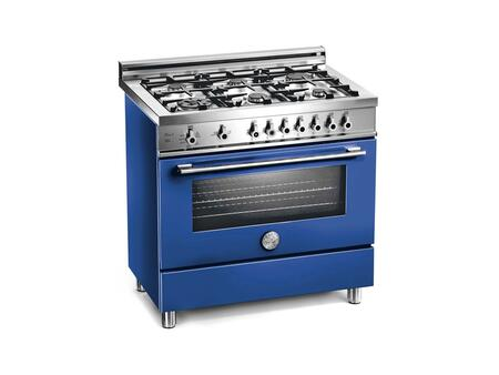 Bertazzoni X366PIRBL Professional Series Dual Fuel Freestanding Range with Sealed Burner Cooktop, 4 cu. ft. Primary Oven Capacity, in Blue