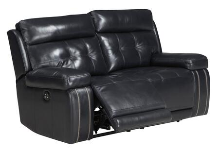 "Signature Design by Ashley Graford 647014 65"" Power Recliner Loveseat with Adjustable Headrest, Tufted Detailing, Jumbo Stitching and Leather Upholstery in"
