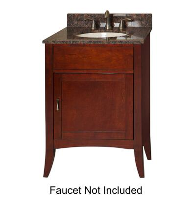 "Kaco Metro Collection 385-2400 24"" Sink Vanity with Flared Legs, 1 Door, Brushed Nickel Hardware and Water Resistant Brown Cherry Finish with Granite Top"