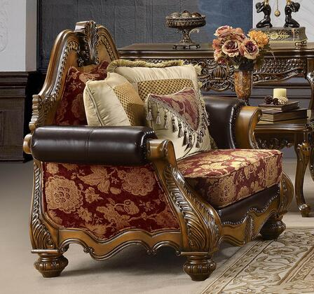 Homey Design HD481CH Fabric Armchair with Wood Frame