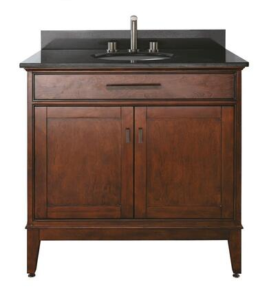 Avanity MADISON-VSX-TO-A Madison Vanity with Black Granite Top, Soft Close Doors, and Soft Close Drawers, in Tobacco Finish