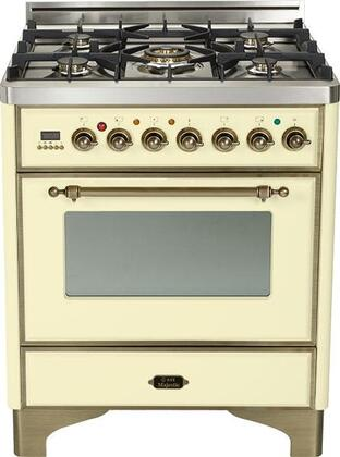 "Ilve UM76DVGGY 30"" Majestic Series Freestanding Gas Range with Oiled Bronze Trim, 5 Burners, Infrared Grill-Baking or Broiler, 3 cu. ft. Oven Capacity, Full Width Storage/Warming Drawer, Digital Clock and Timer, and Flame Failure Safety"