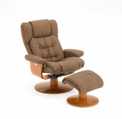 Mac Motion VINCI91 Nubuck Bonded Leather Swivel, Recliner with Ottoman