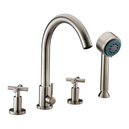 Dawn D03 2503 4-Hole Tub Filler With Personal Handshower, Cross Handles, Solid Brass Construction & In