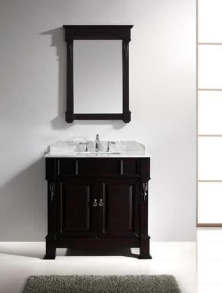"Virtu USA GS-4036 Virtu USA 36"" Huntshire Single Sink Bathroom Vanity in Dark Walnut with Italian Carrara White Marble"