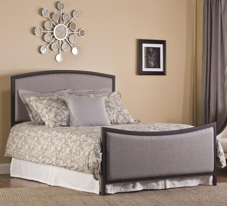 Hillsdale Furniture 1263BR Bayside Panel Bed Set with Rails Included, Grey Fabric Upholstery and Tubular Steel Construction in Black Finish