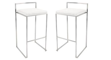 "LumiSource Fuji BS-FUJI Set of (2) 34"" Stackable Barstool with Stainless Steel Legs, Leatherette Upholstery and Footrest in"