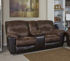 Milo Italia MI383928CHOC Jordyn Series Fabric Reclining with Metal Frame Loveseat
