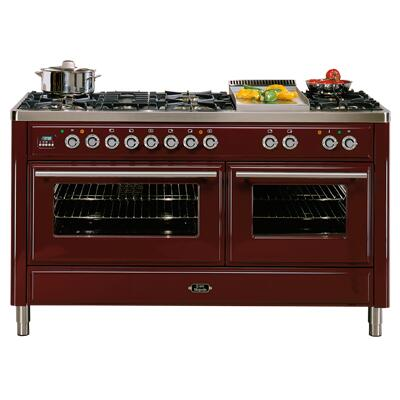 Ilve UM150FMPRB Majestic Series Dual Fuel Freestanding Range with Sealed Burner Cooktop, 2.8 cu. ft. Primary Oven Capacity, Warming in Burgundy