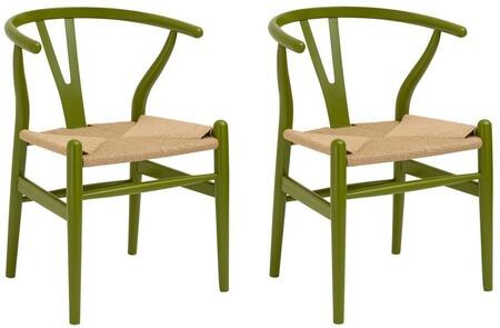 EdgeMod EM109OGRNX2 Weave Series  Wood Frame Dining Room Chair