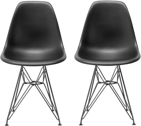 "EdgeMod Padget Collection 32.2"" Set of 2 Side Chairs with Chromed Steel Legs, Plastic Non-Marking Feet and Polypropylene Plastic Material in"