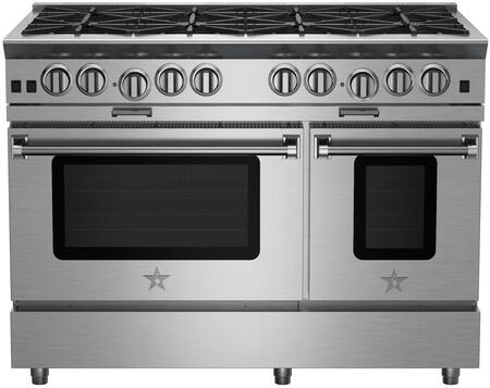 "BlueStar BSP488 48"" Platinum Series Freestanding Range with 8 Burners, Interchangeable Griddle Charbroiler, Full Motion Grates, Efficient PowR Oven and 15000 BTU Infrared Broiler, in Stainless Steel"