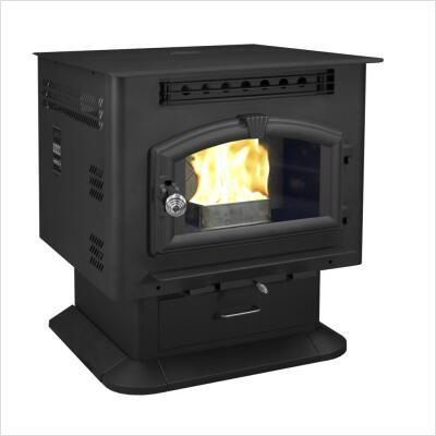 US Stove 6041xx, 60 lbs Hopper Capacity Multi Fuel Stove with Large Viewing Window, Air Wash Glass and Igniter