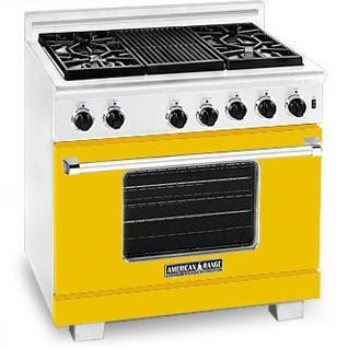 American Range ARR364GRYW Heritage Classic Series Natural Gas Freestanding Range with Sealed Burner Cooktop, 5.6 cu. ft. Primary Oven Capacity, in Yellow