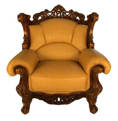 J. Horn 2084C 2084 Series Leather Armchair with Wood Frame