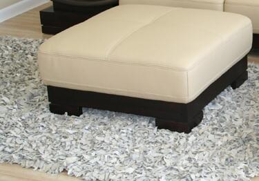 Wholesale Interiors 753O3591OTTOMANBEIGE Milano Series Contemporary Leather Ottoman