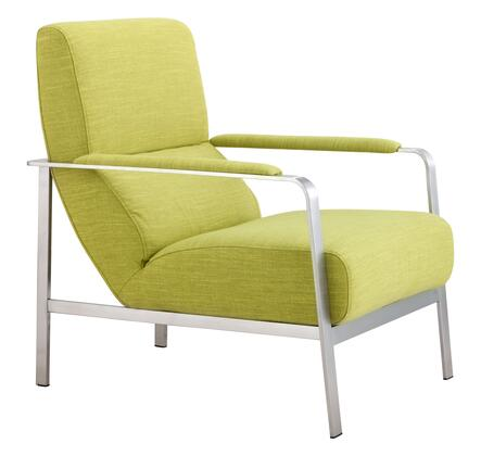 "Zuo 50034XX Jonkoping Collection 34"" Arm Chair with Brushed Stainless Frame, Polyblend Upholstery"