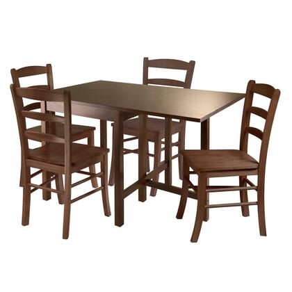 Winsome 94Lynden Lynden Dining Table with Ladder Back Chairs in Antique Walnut Finish