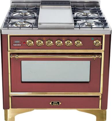 """Ilve UM90FVGGRB 36"""" Majestic Series Gas Freestanding Range with Sealed Burner Cooktop, 3.55 cu. ft. Primary Oven Capacity, Warming in Burgundy Red"""