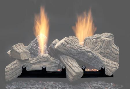 "Majestic NBST27 27"" Natural Blaze Ventless Gas Log Set, with Ember Blaze Burner, Ceramic Fiber Logs, See-thru Design, and CSA Design Certification"