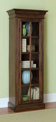 Hillsdale Furniture 48605265 Pine Island Library Cabinet with 5 Wooden Shelves, Glass-Fronted French Door, Pine Solids and Lumber Sides Construction in