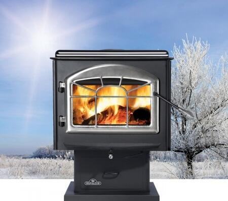 "Napoleon 1X00M Wood Stove With Economical 6"" Flue, Non-Catalytic High Tech Design, Full Canopy Top & In Metallic Black"
